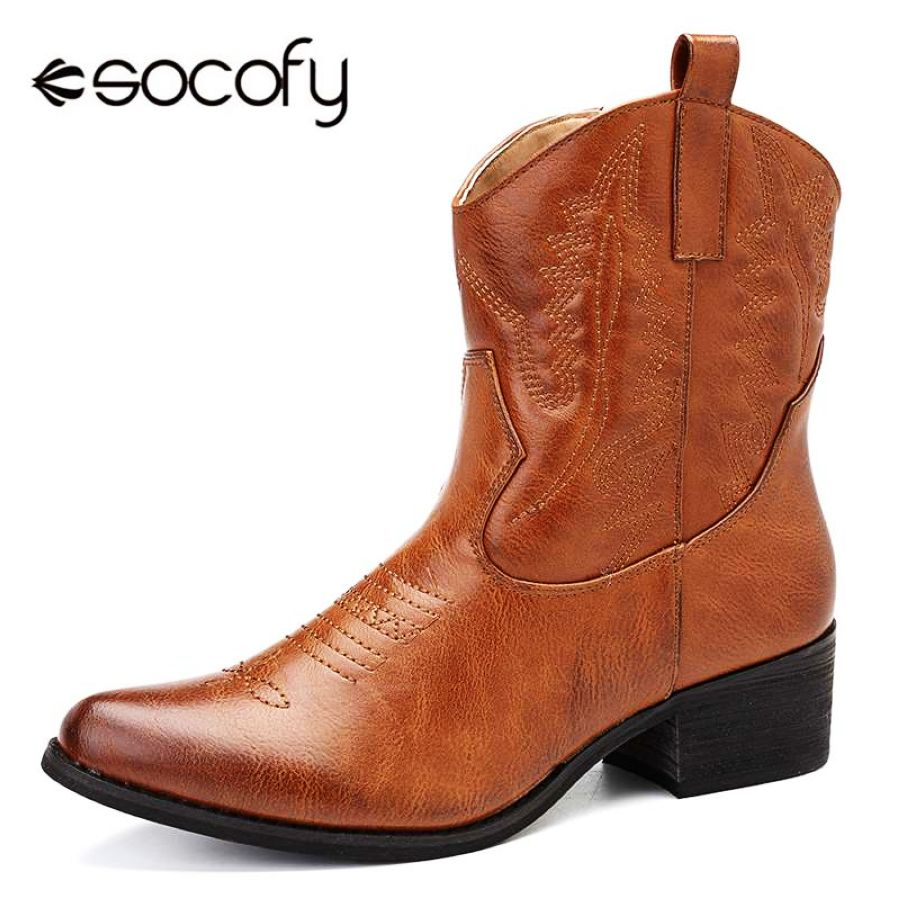 Shoes Socofy Pu Leather Cowgirl Women Boots Autumn Winter Ankle