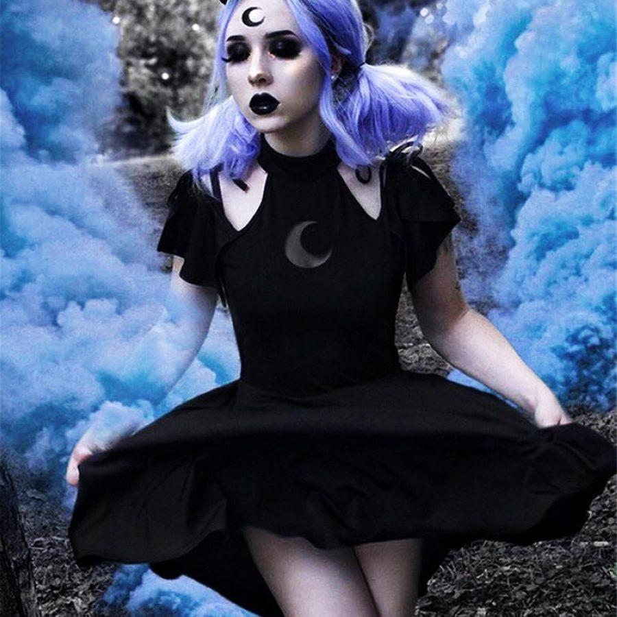 Gothic Punk Moon Pattern Dress Cold Shoulder Short Sleeve Women