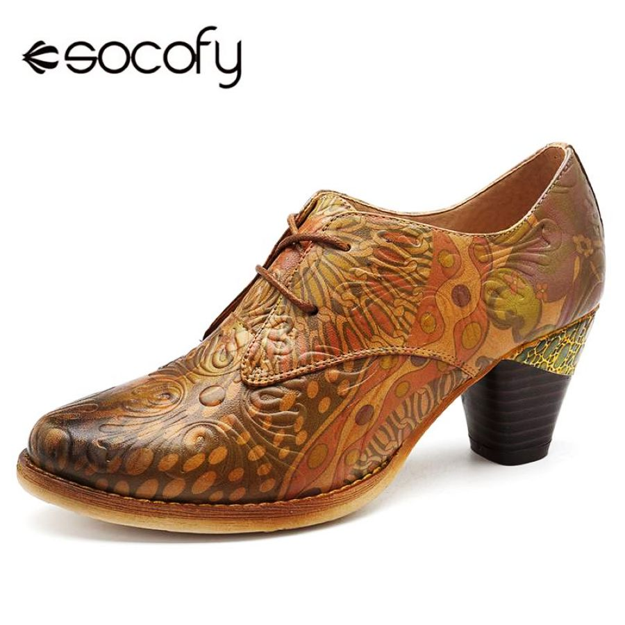 Shoes Socofy Retro Printed Genuine Leather Women Pumps Shoes Woman