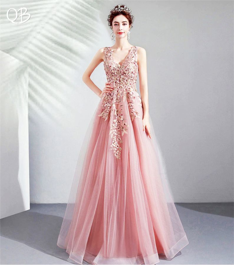 2019 New Fashion Pink A-Line V-Neck Lace Tulle Flowers Appliques