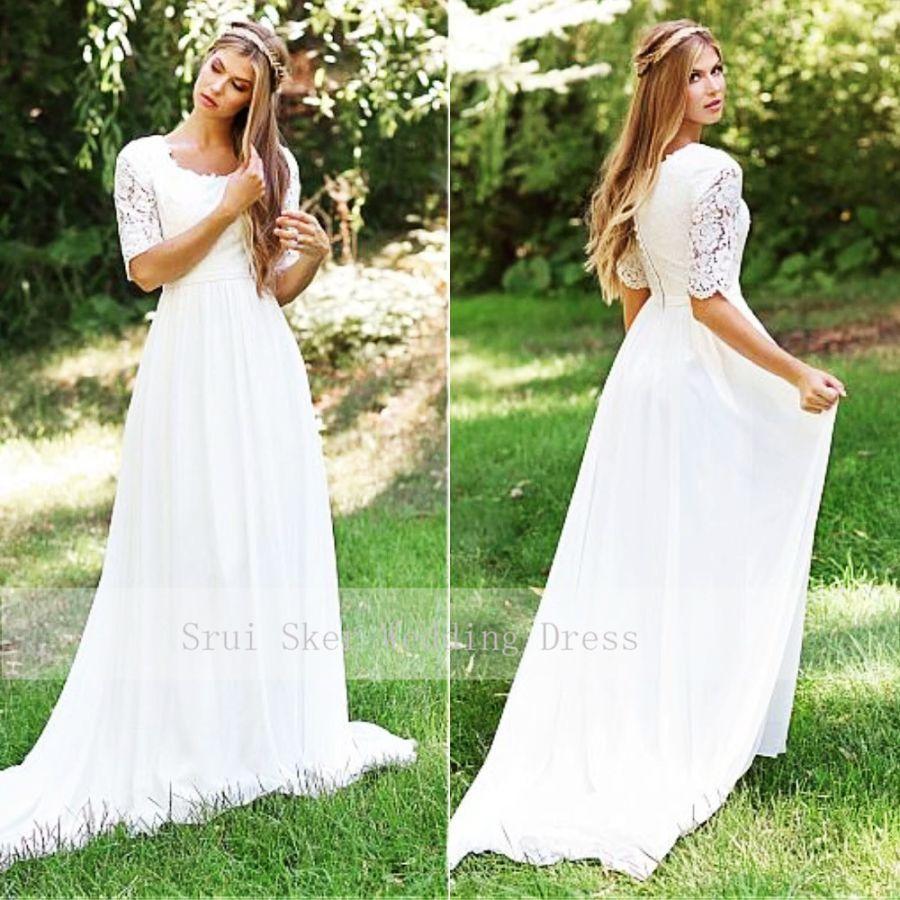 Clásico cuello redondo barato vestido de boda de encaje