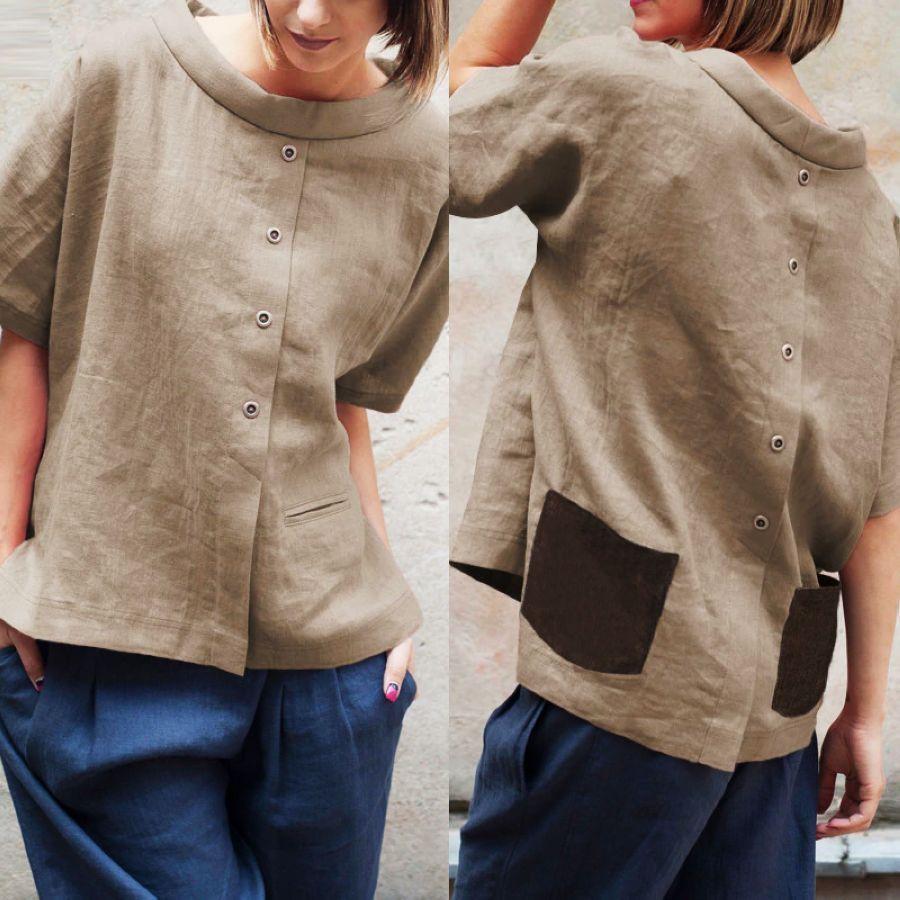 Celmia Oversized Vintage Cotton Tops Women Blouses 2019 Summer Short
