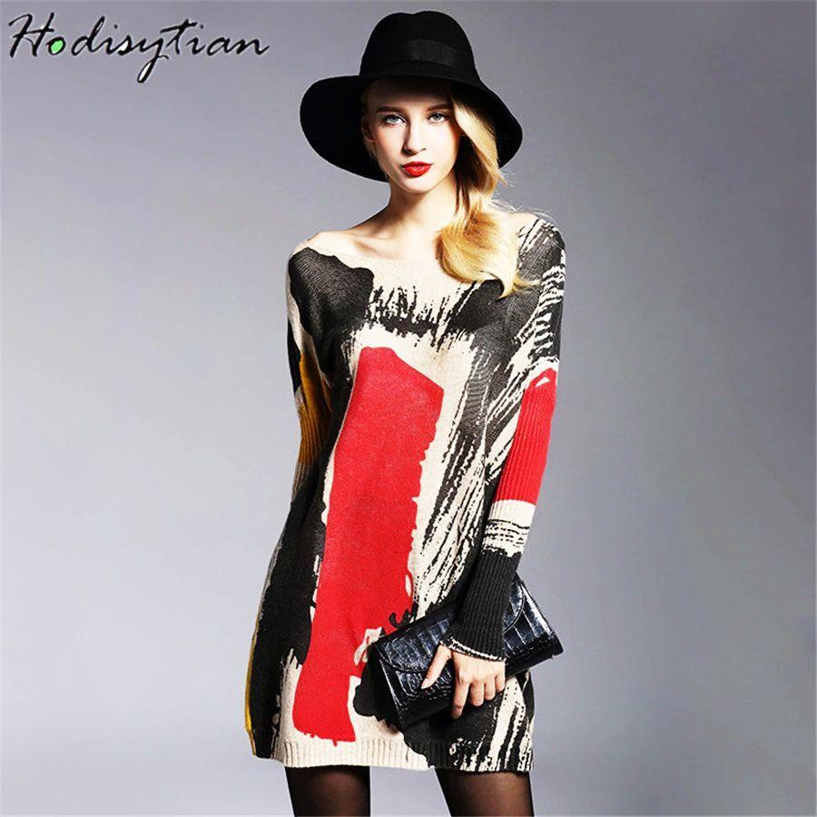 Hodisytian Soft Woolen Women Knitted Sweater Pullovers Jumper Tops Outerwear