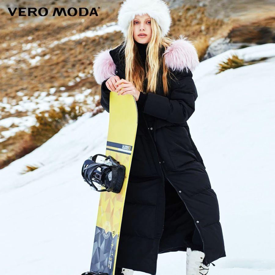 Vero Moda Winter Raccoon Fur Straight Long Down Jacket Women
