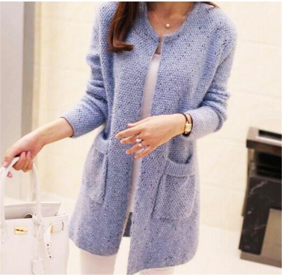 Hot Women Spring Autumn Long Cardigan Sweater Coat Female 2019