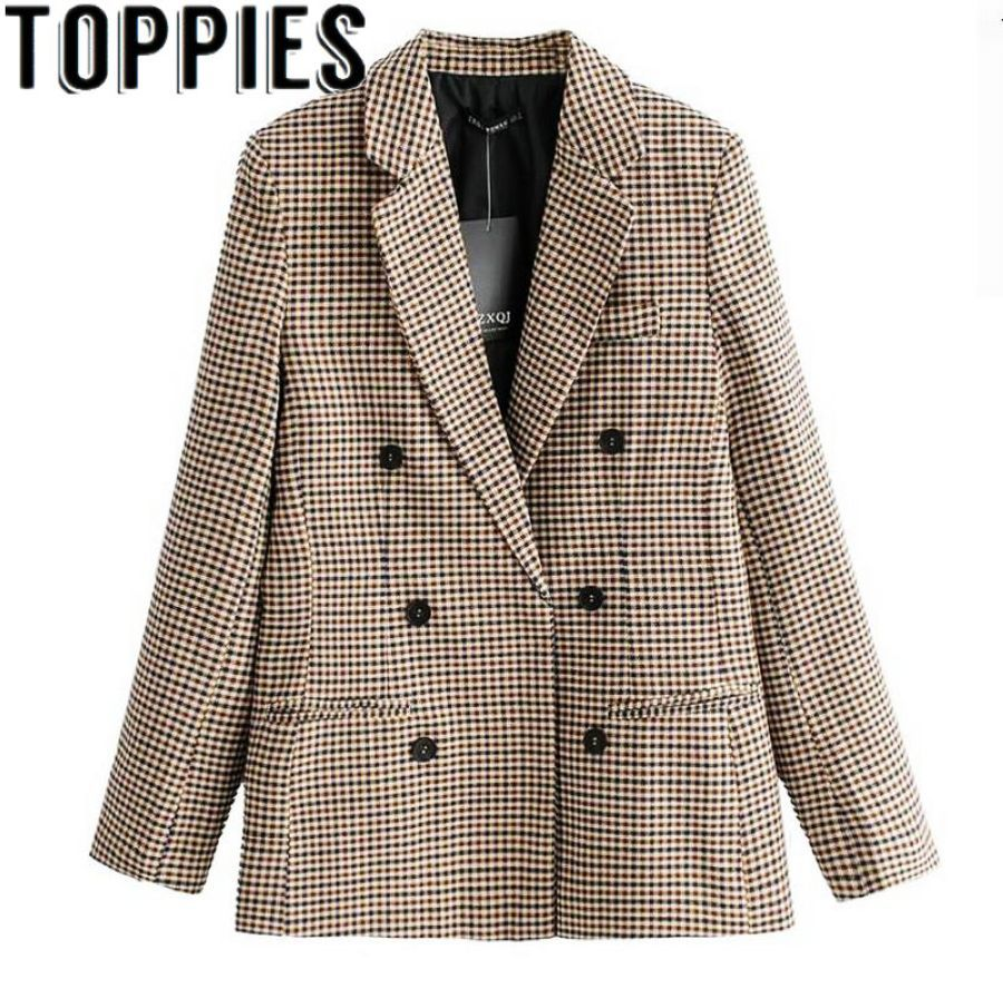 2019 Spring Women Blazers For Women Formal Office Lady Plaid