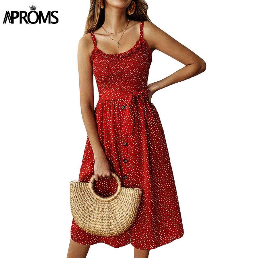 Backless Ruffles Midi Dress Women Dot Print Sundresses Summer Sleeveless