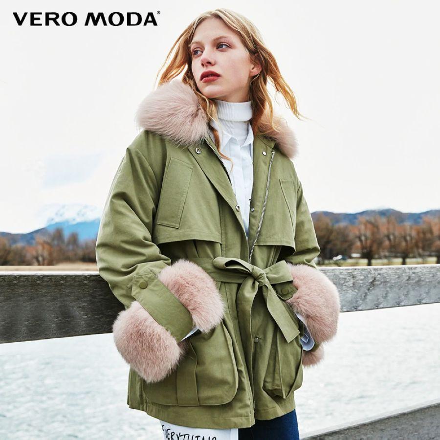 Vero Moda New Fox Fur Collar Detachable Liner Down Jacket