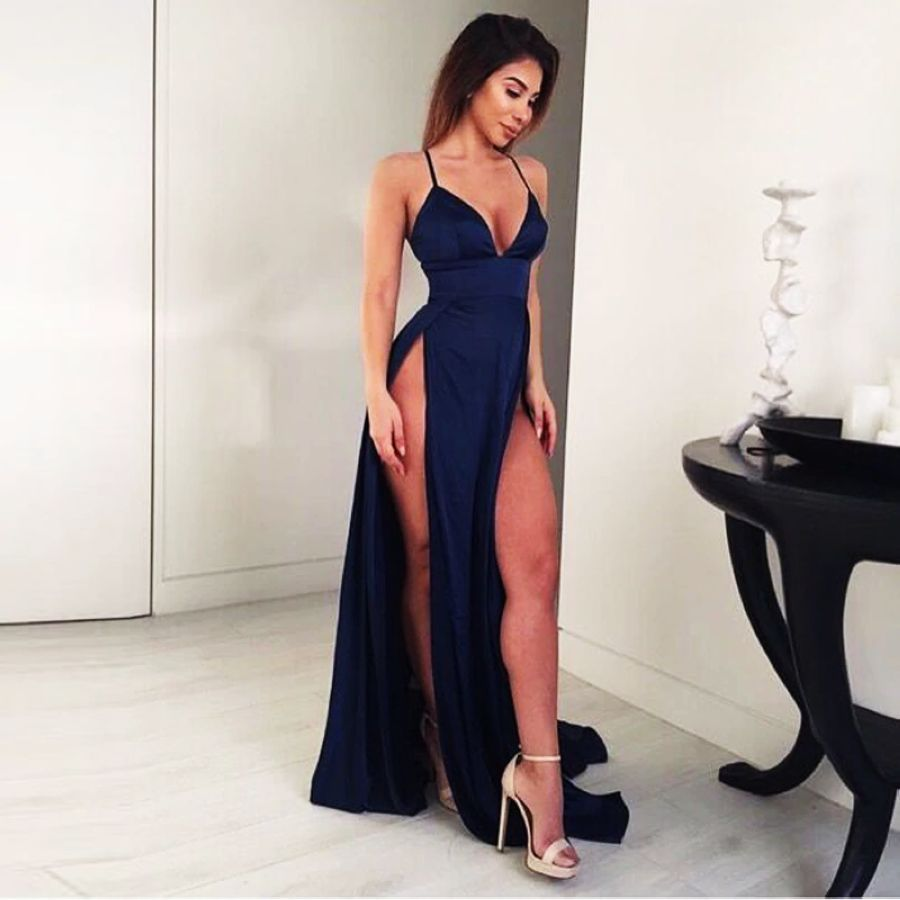 Navy Blue Satin Maxi Dress V Neck High Splits Empire