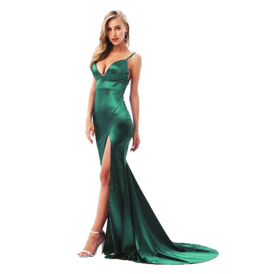 Deep V-Neck Green Cut Out Open Back Bodycon Long Dress
