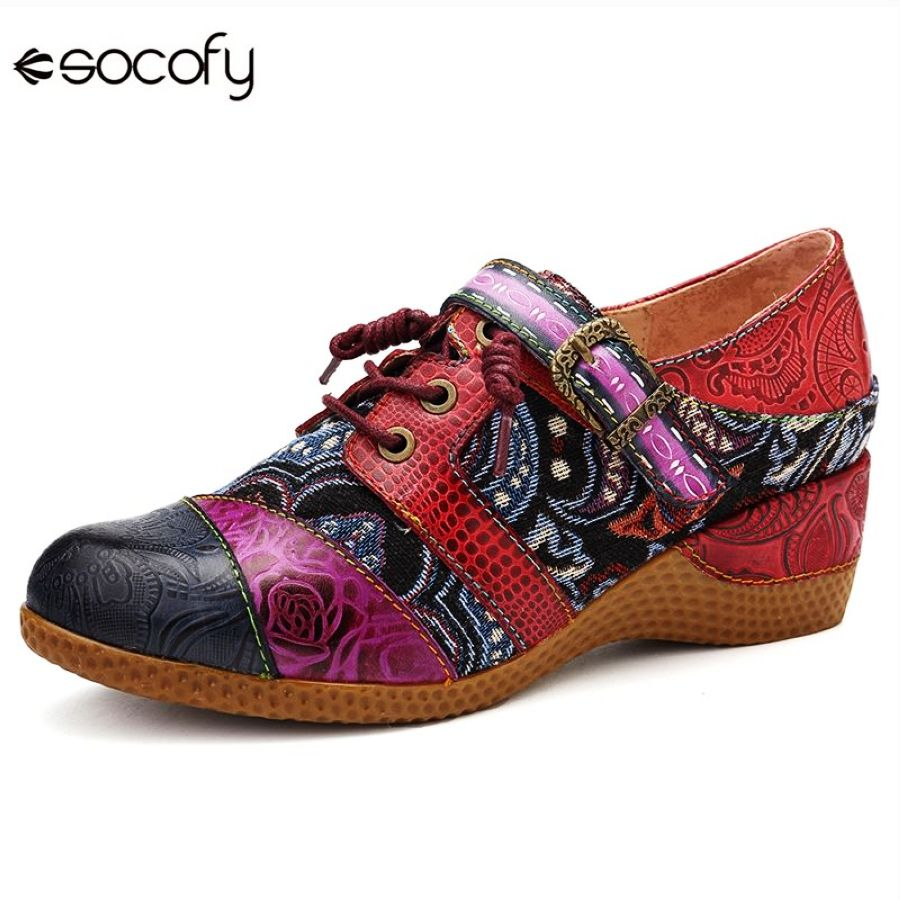 Shoes Socofy Bohemia Genuine Leather Splicing Jacquard Hand Painted Buckle