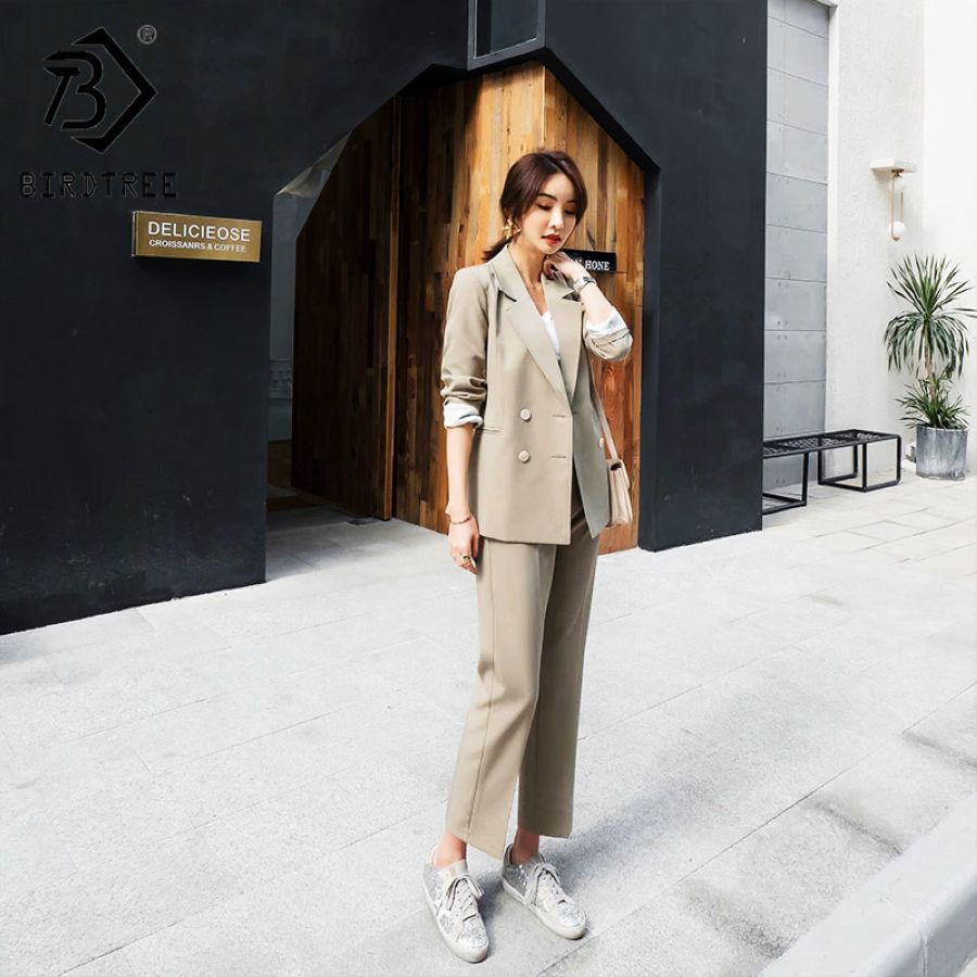 2019 Spring New Womens Two Piece Set Blazer Tops Suits