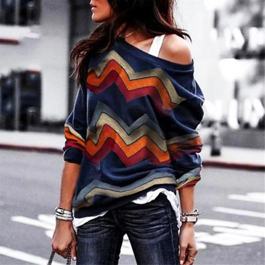 2019 New Blouses Women Striped Print Pullover Jumpers Casual Skew