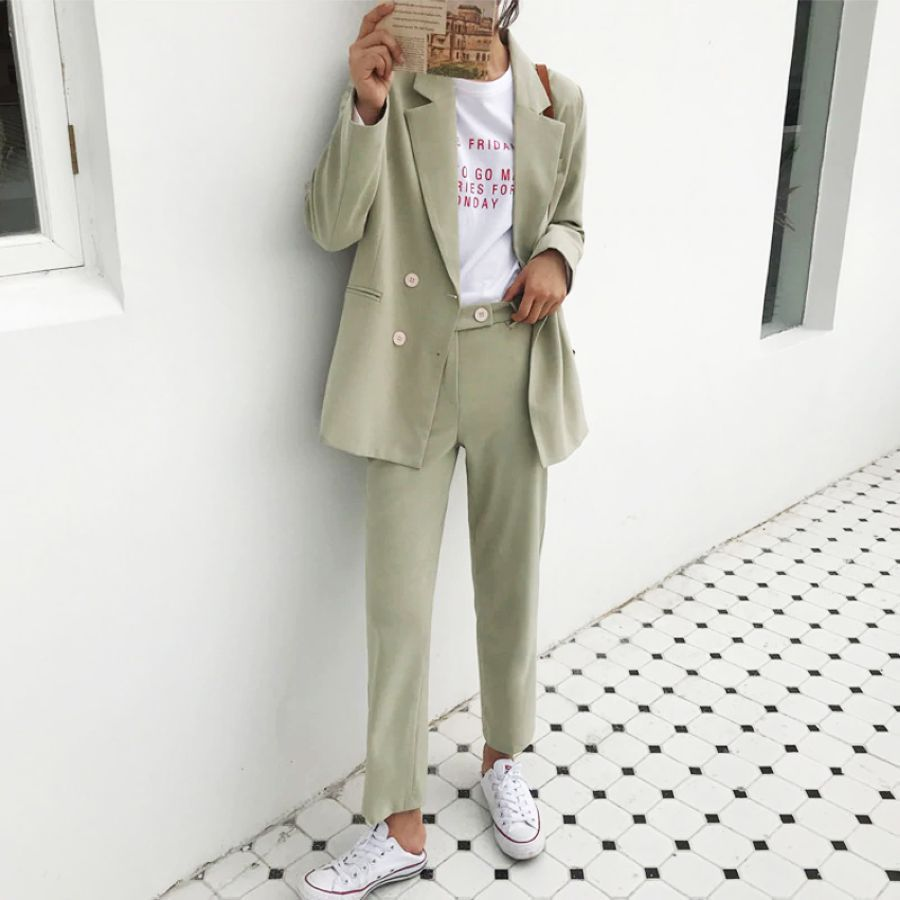 Bgteever Vintage Light Green Women Suits Double Breasted Female Pant