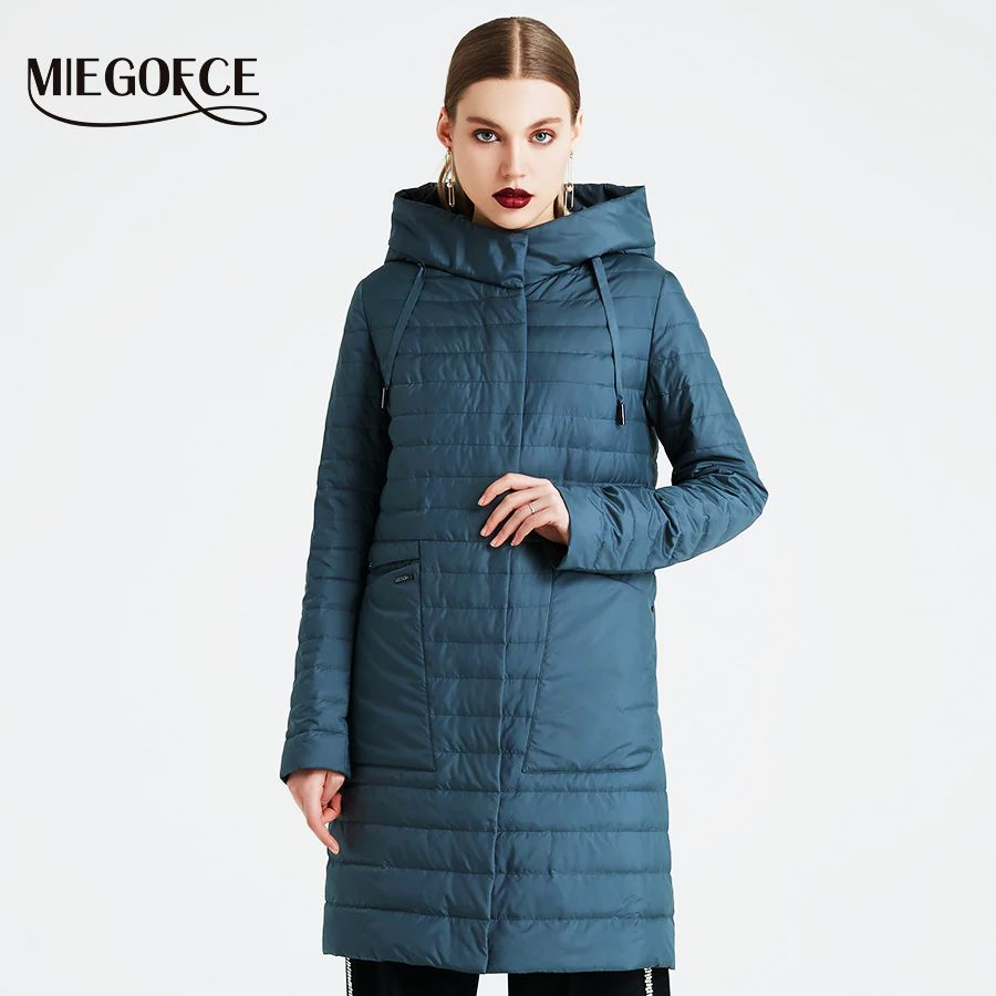 Miegofce 2019 Spring And Autumn Womens Coat Windproof Hooded Womens