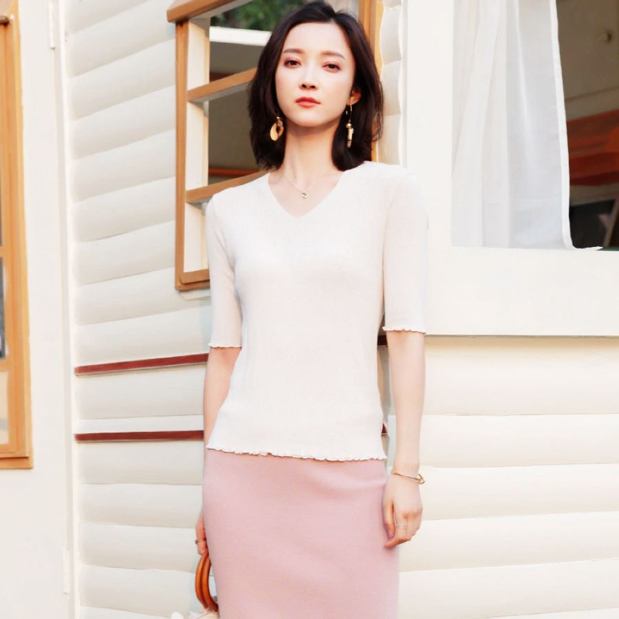 2019 Spring And Summer Knitted Shirt New V-Neck Slim Thin