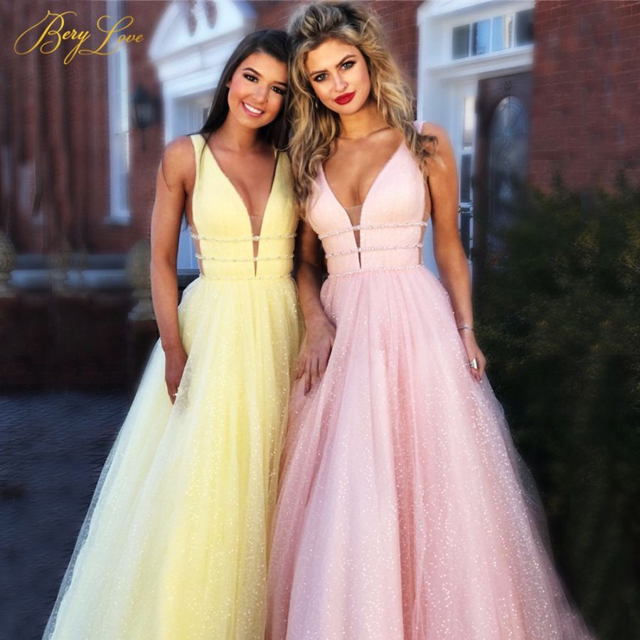Berylove Shiny Prom Dress 2019 Pink A-Line Deep V-Neck Sleeveless