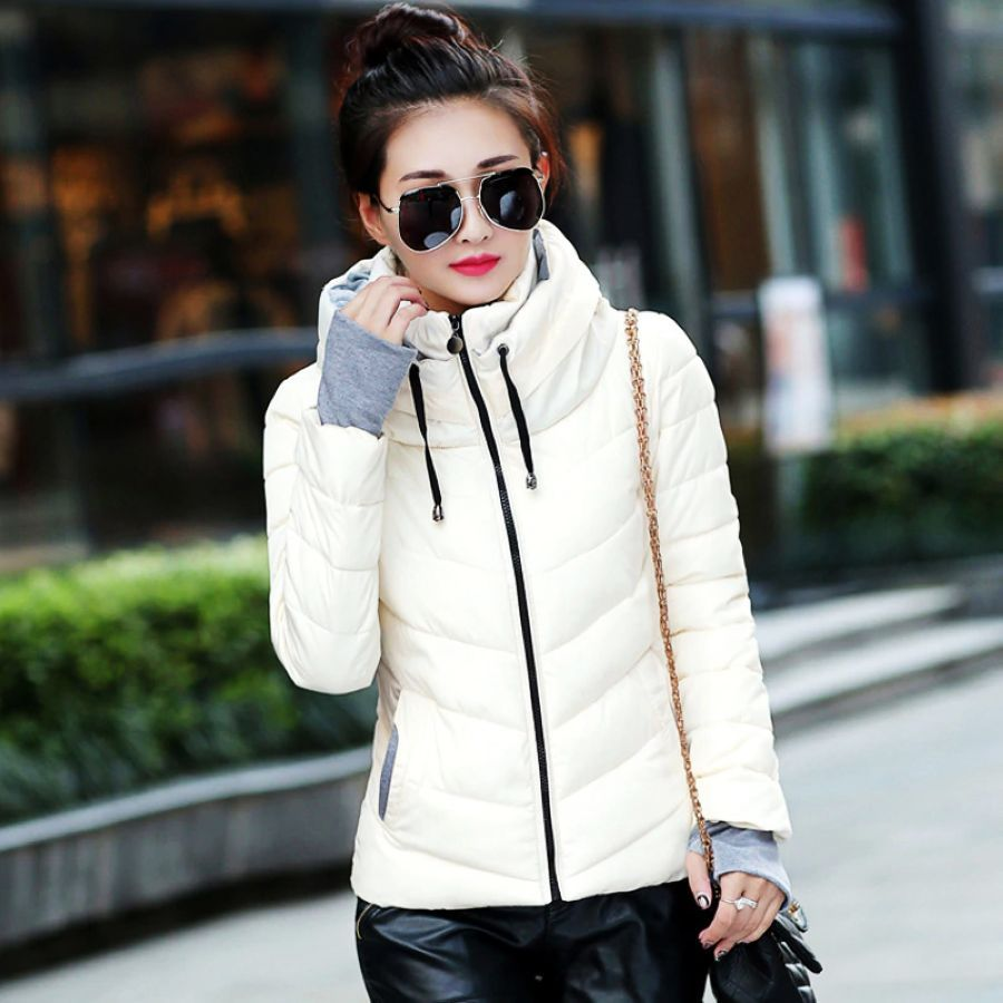 2019 Women Winter Hooded Warm Coat Plus Size Candy Color