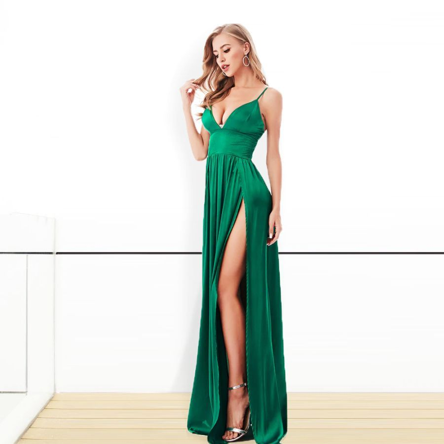Green Red Satin V Neck 2 Splits Party Dress Backless