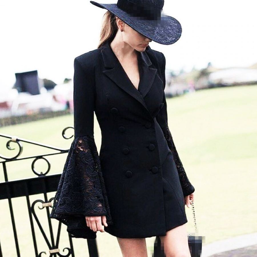 2019 Spring Fashion Hollow Out Lace Flare Sleeve Coat For
