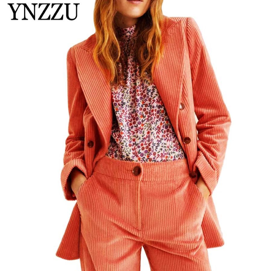 2019 New Spring Elegant Corduroy Blazer Coat Solid Office Lady