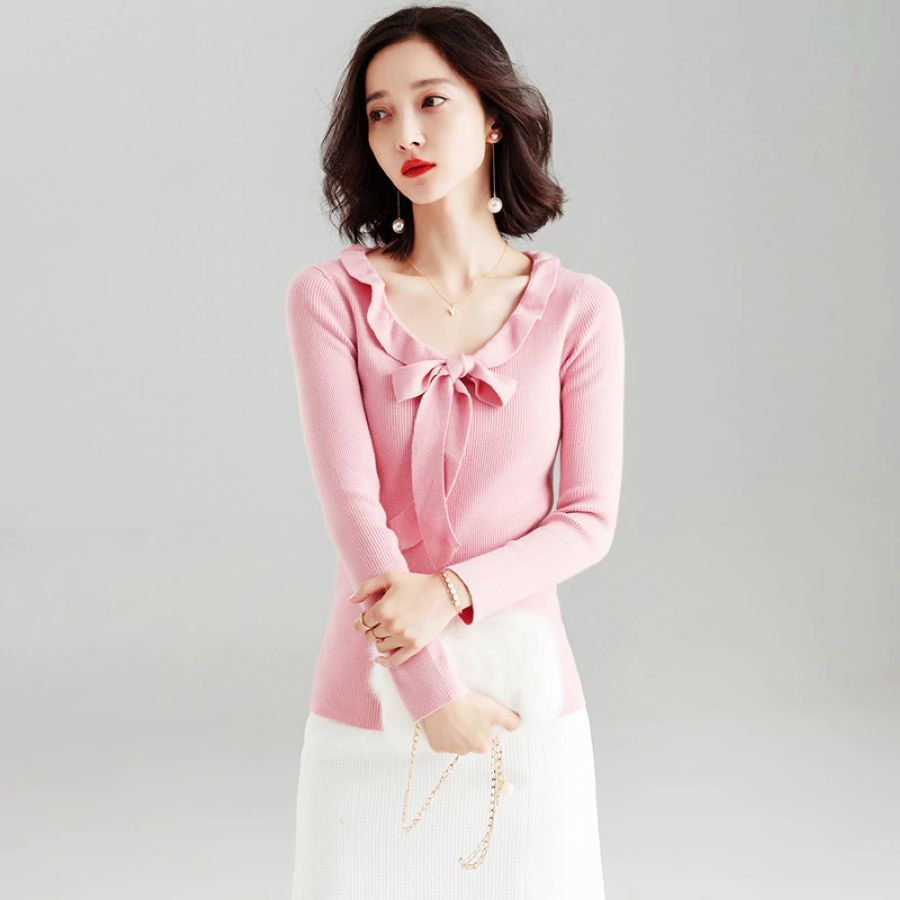 2019 Spring And Autumn New Arrival Fashion Womens V-Neck Ribbon