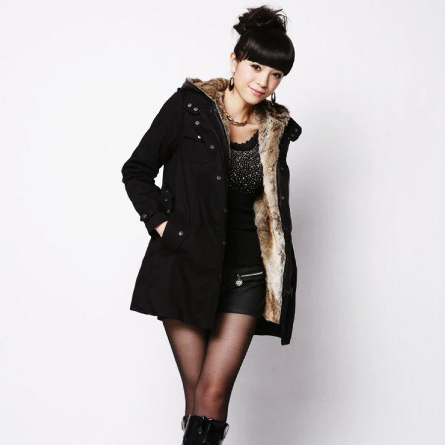 Mujer parkas bolsillos linda cremallera sólida con capu