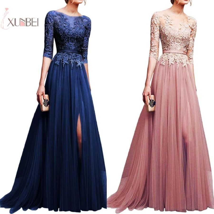 2019 Elegant Pink Navy Blue Tulle Long Bridesmaid Dresses Lace