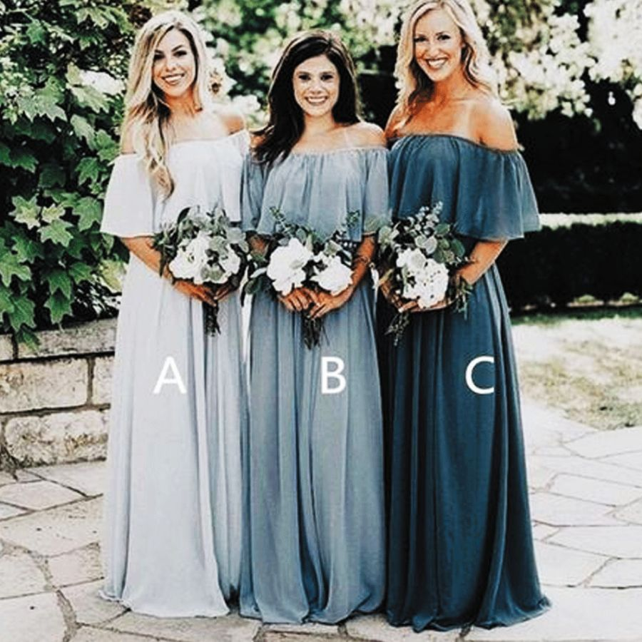 Off The Shoulder Bridesmaid Dresses Long Chiffon Cheap Custom Wholesale