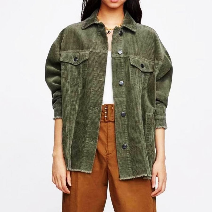 The New Western Style Lamp Corduroy Womens Casual Jacket In