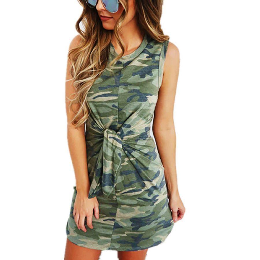 Dorvivon Summer Camouflage Print Women Dress Sleeveless Bandage Bodycon Party