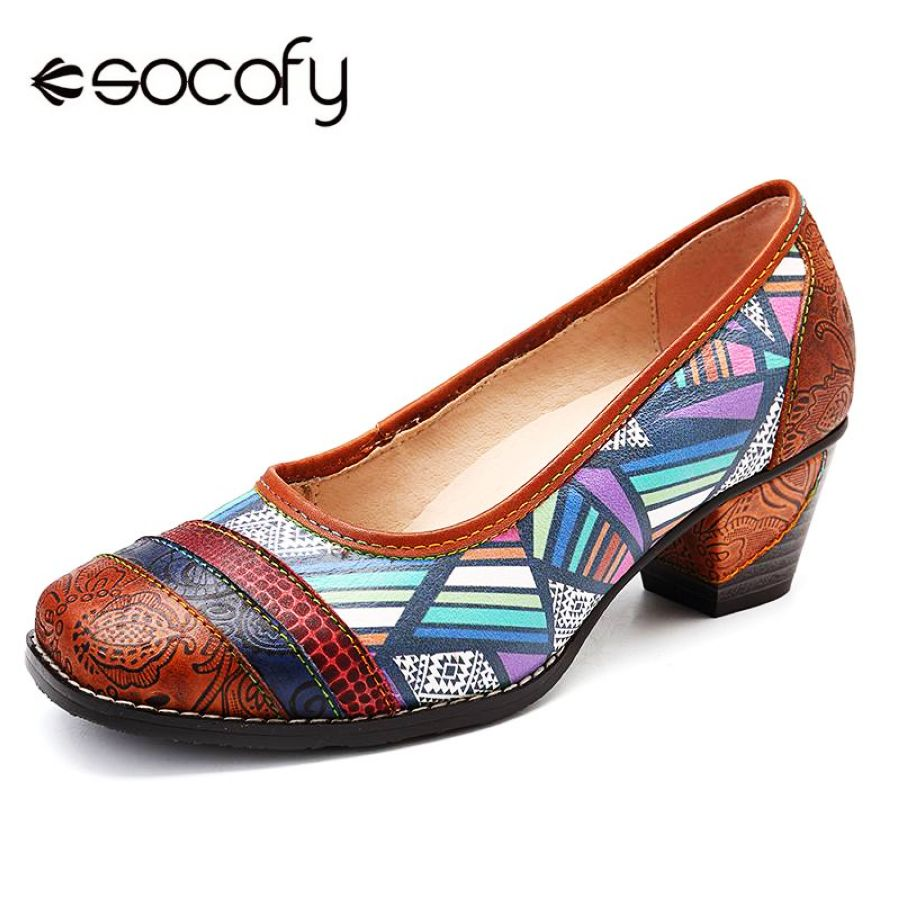 Shoes Socofy Vintage Genuine Leather Colorful Stripes Splicing Geometric Pattern