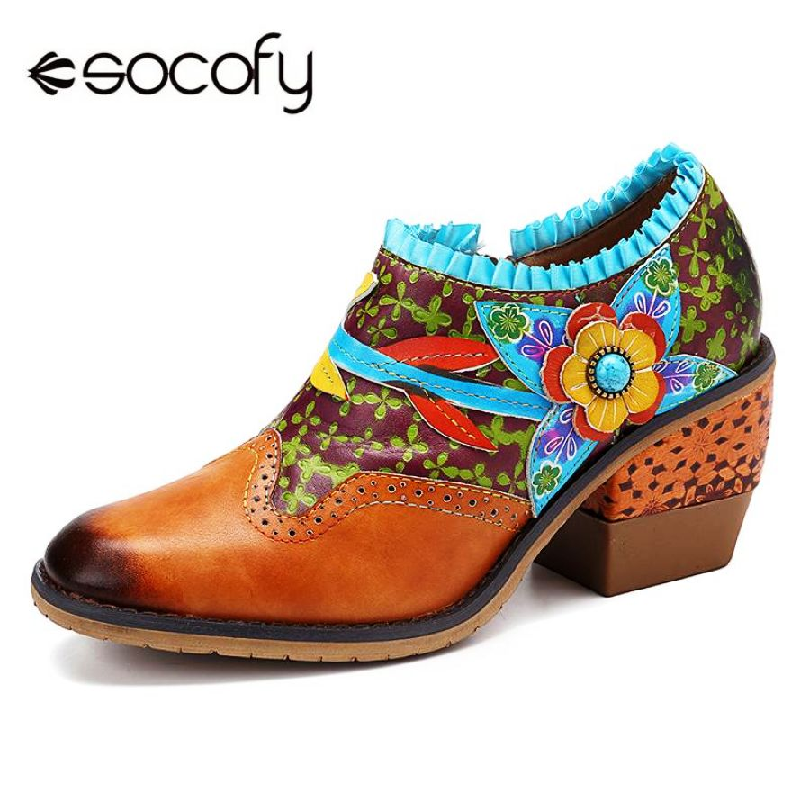 Shoes Socofy Vintage Genuine Pumps Leather Splicing Floral Clover Pattern
