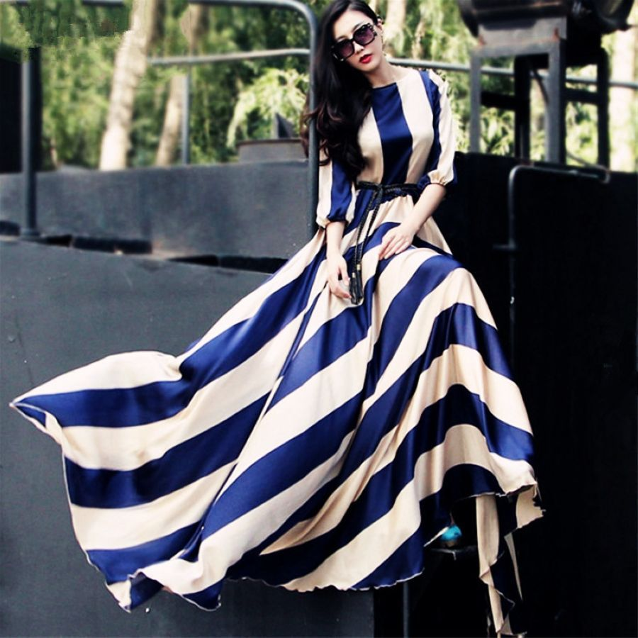 2019 European And American Fashion Striped Long Chiffon Dress Large