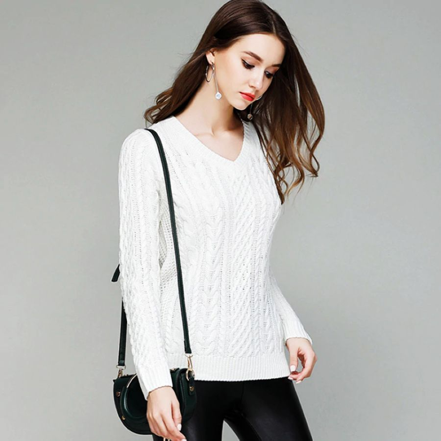 2019 New Women Fashion Sweater Upper Outer Garment V-Neck Solid