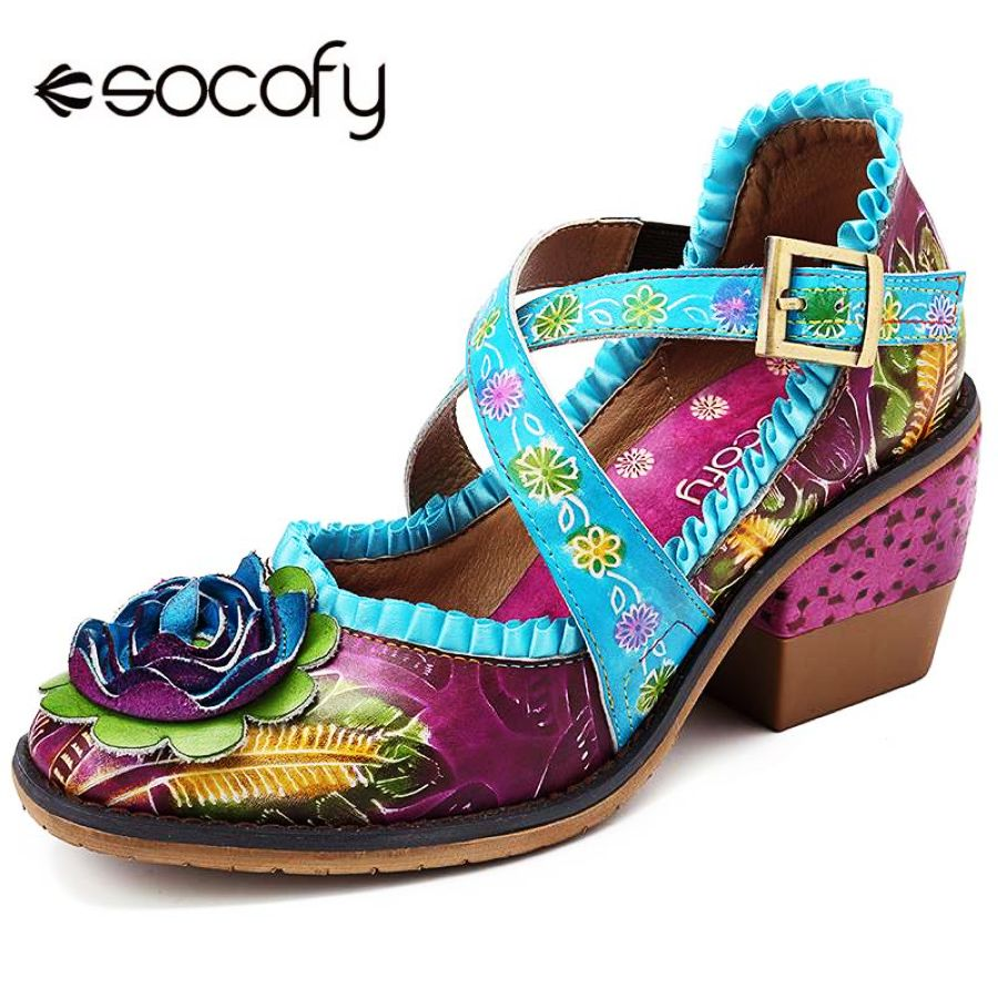 Shoes Socofy Vintage Hand Painted Floral Pattern Genuine Leather Splicing