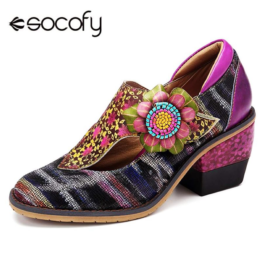Shoes Socofy Spring Retro Flowers Pattern Genuine Leather Splicing