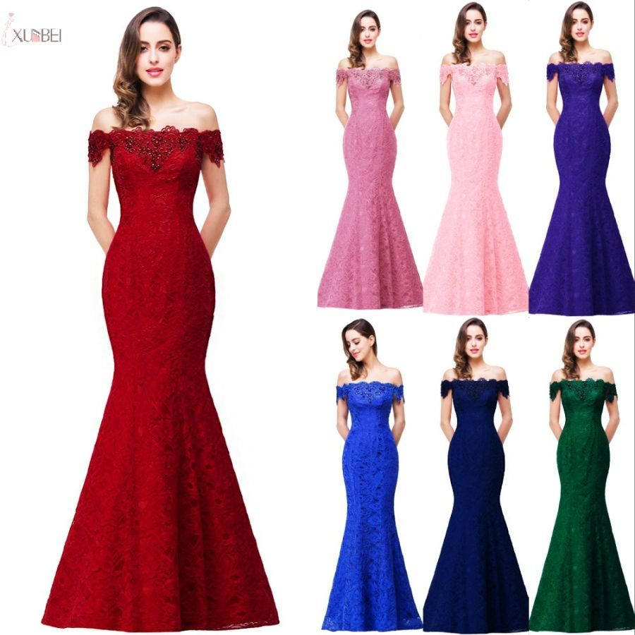 2019 Burgundy Lace Mermaid Long Bridesmaid Dresses Off The Shoulder