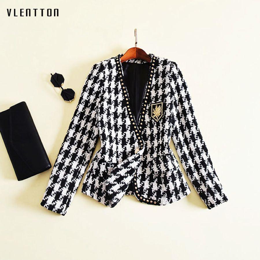 High Quality Tweed Blazer Woman Spring Autumn 2019 New Fashion