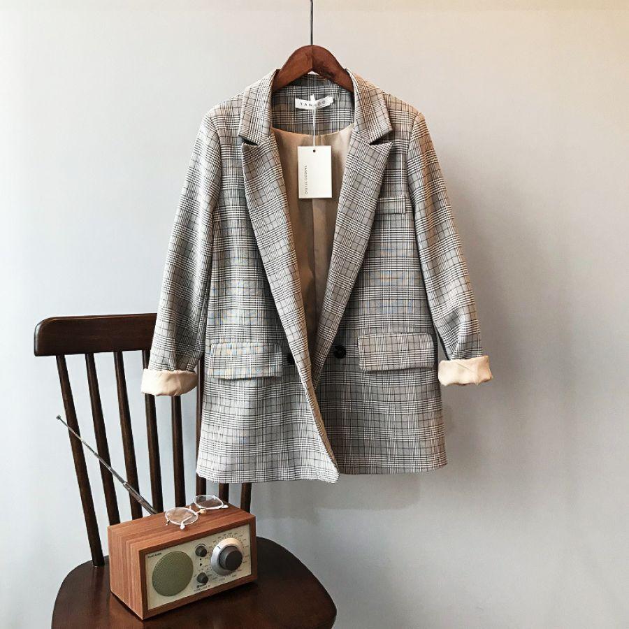 Mooirue Spring Blazer Slim Korean Restore Plaid Suit Loose Suit