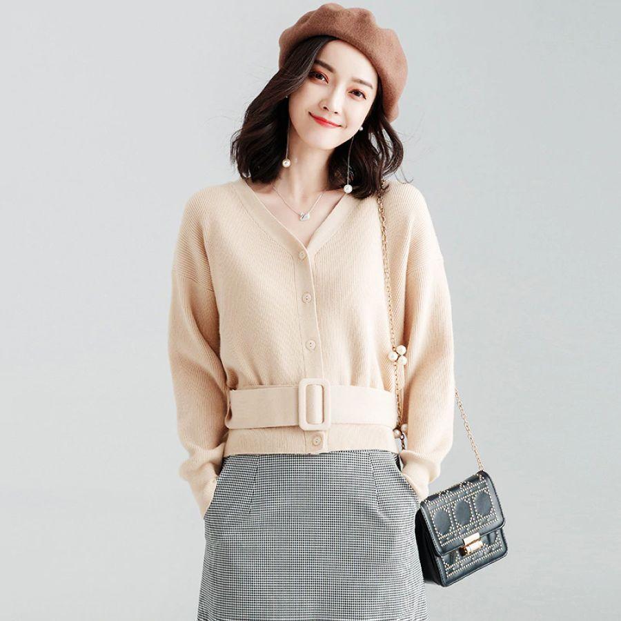 2019 Cardigans V-Neck Belt Sweater V-Neck Single-Breasted Belted Sweater Women