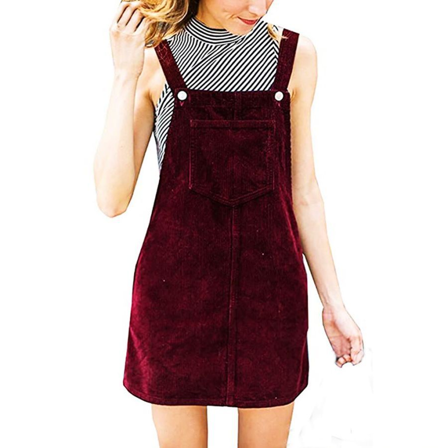 2019 Fashion Women Corduroy Straight Suspender Mini Bib Overall Pinafore