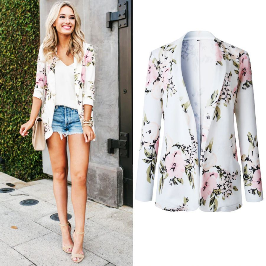 Hodisytian Fashion Blazer For Women Floral Print Notched Casual Thin