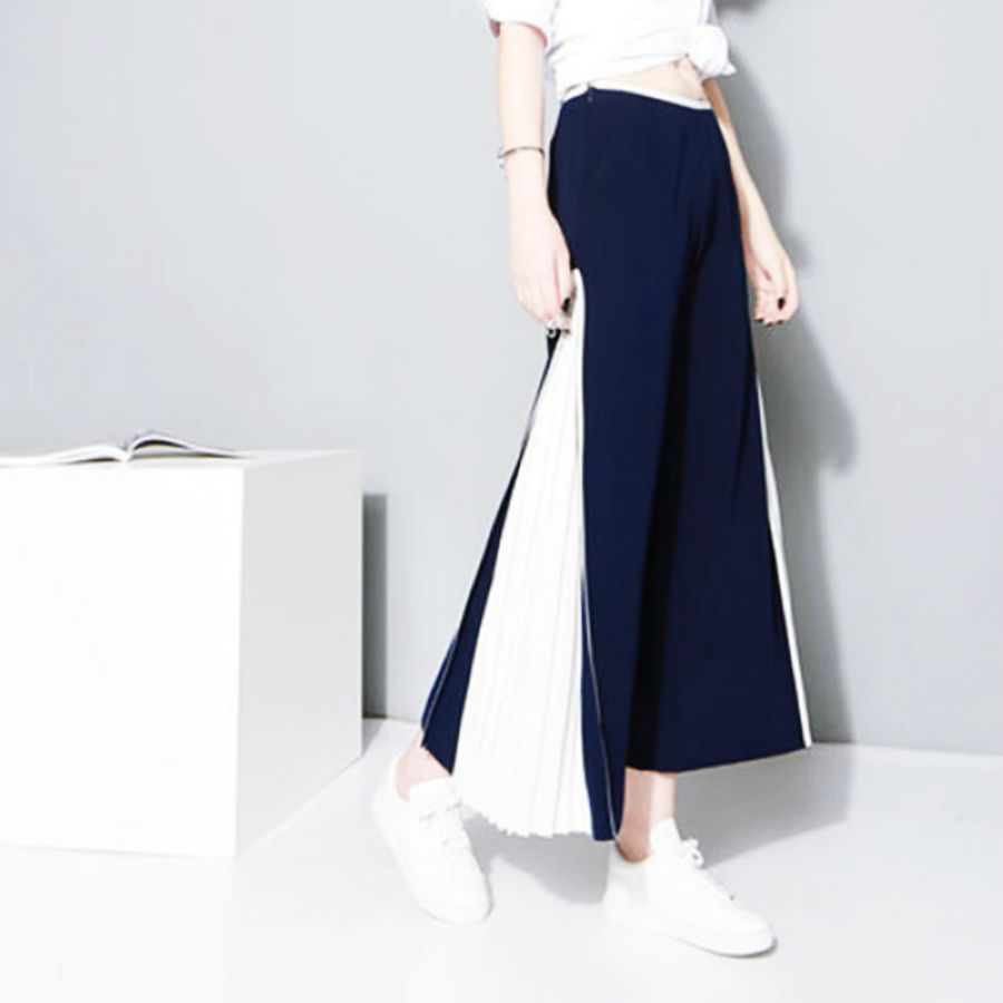 Womens Wide-Leg Pants 2019 Unique Stitching Pleated Wide-Leg Pants Chiffon