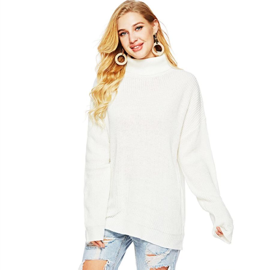 2019 Fashion Women Sweater Spring Summer Slim Fit Solid Color
