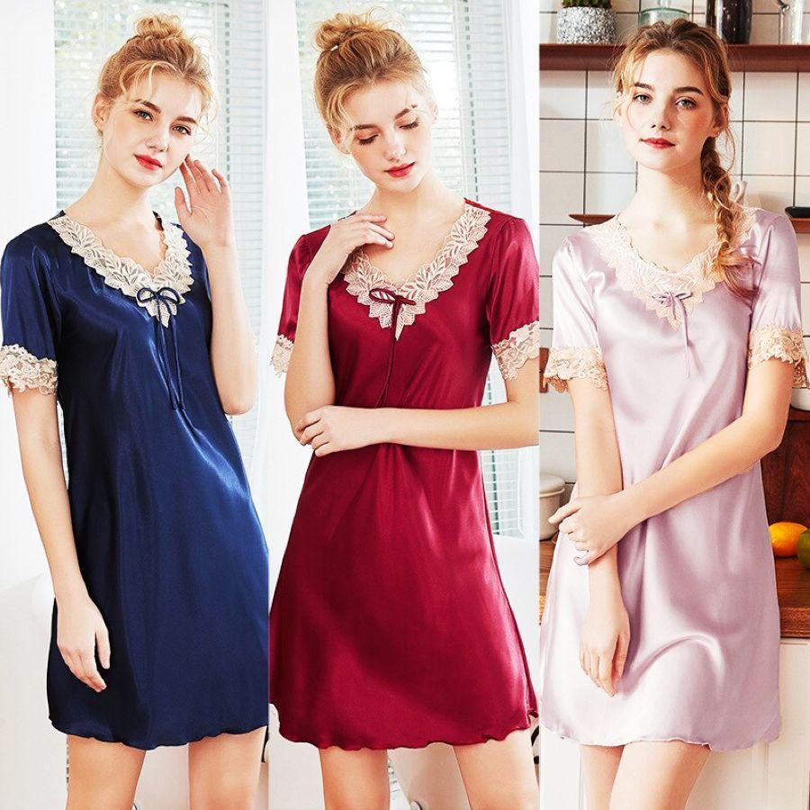High Quality Silk Night Dress Nightgown Womens Lace Sleepwear Robe