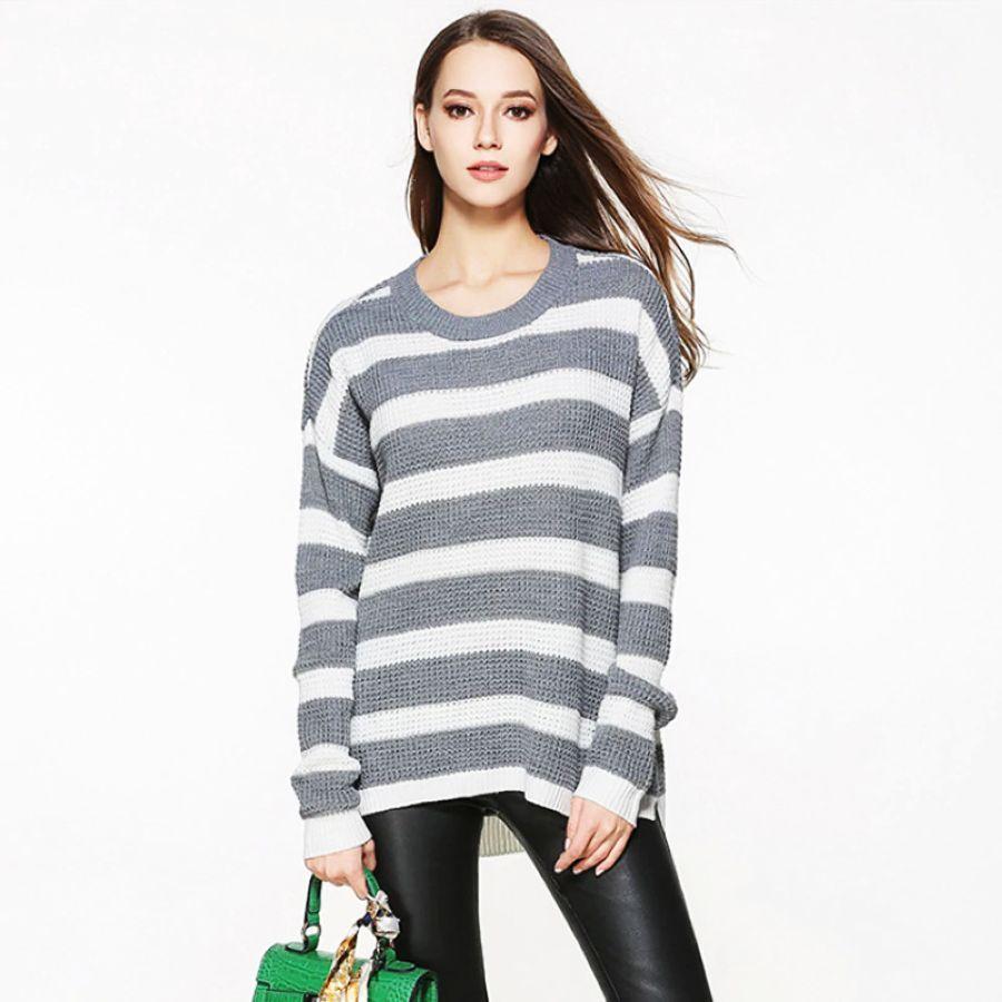 2019 New Fashion Women Sweater Spring Summer Slim Fit Stripe