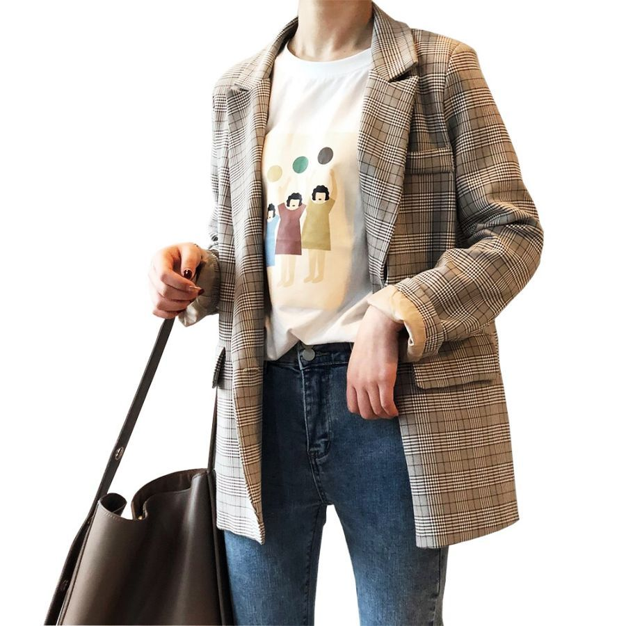 2019 Women Autumn Coat Turn Down Collar Plaid Blazer Feminino