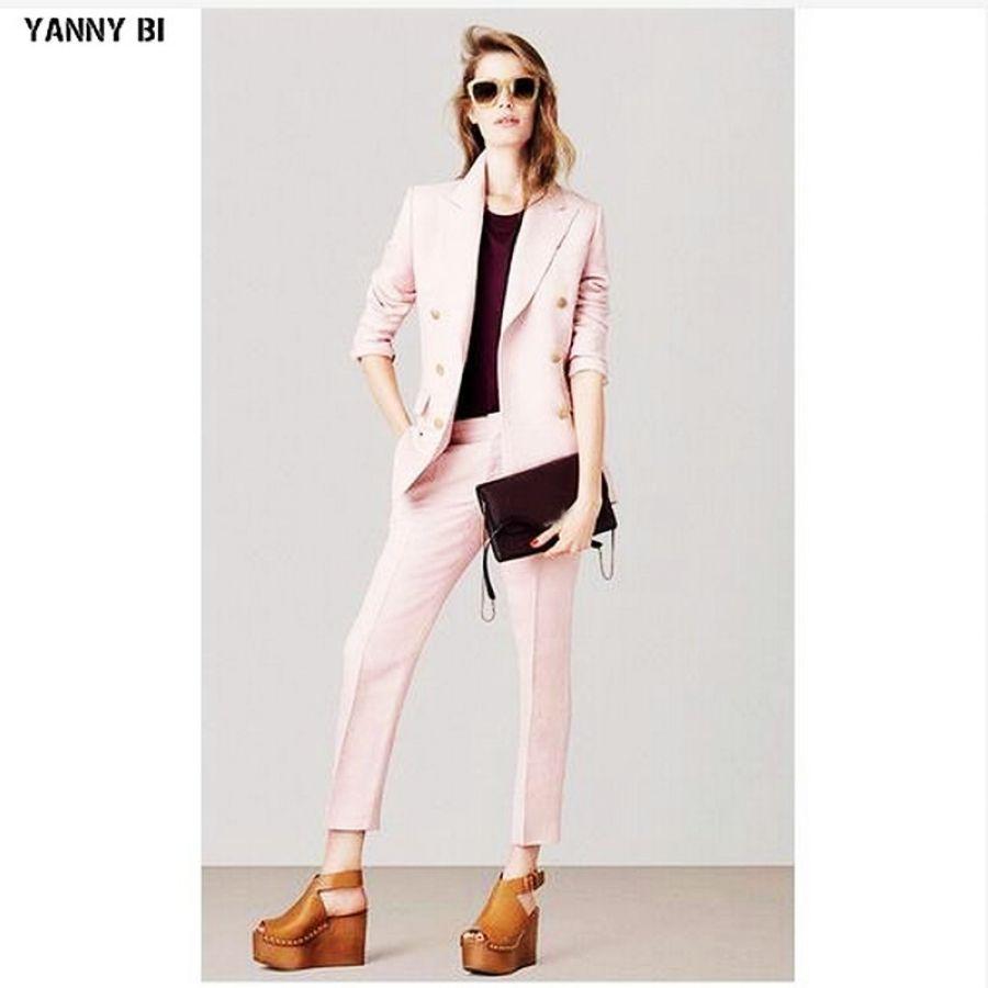 Jacketpants Pink Womens Business Suits Female Office Uniform 2 Piece