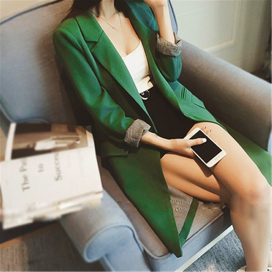 Plus Size 3xl Gray-Green-Black Single One Button Blazer Spring 2019